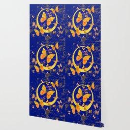 VINTAGE  YELLOW BUTTERFLIES SHABBY CHIC ART Wallpaper