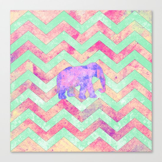 Whimsical Purple Elephant Mint Green Pink Chevron Canvas Print