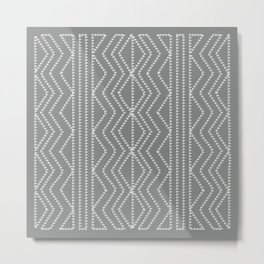 Grey White Arrowheads Stitch Pattern Metal Print
