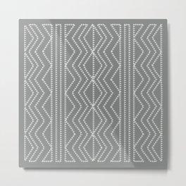 Grey White Arrows Geometric Pattern Metal Print