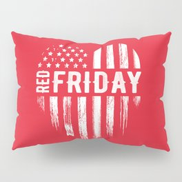 Red Friday Distressed USA Heart Military Pillow Sham