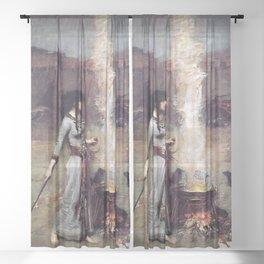 THE MAGIC CIRCLE - JOHN WILLIAM WATERHOUSE Sheer Curtain