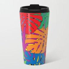 Monstera leaves in Pop Art Metal Travel Mug