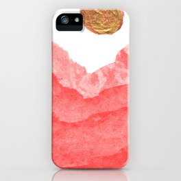 Red watercolor abstract mountains and moon iPhone Case