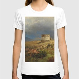 Via Appia with the Tomb of Caecilia Metella in Roman Italian Countryside by Oswald Achenbach T-shirt