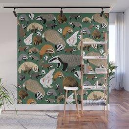 Eurasian badgers pattern Green Wall Mural
