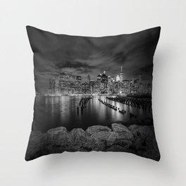 MANHATTAN SKYLINE Evening Atmosphere in New York City | Monochrome Throw Pillow