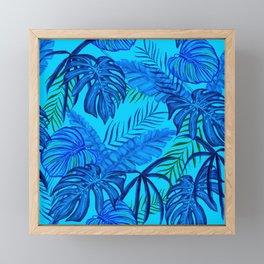Tropical Leaves Jungle Print Blue Tones Framed Mini Art Print