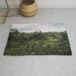 Bali Tegalalang II Indonesia - Palm Trees - Rice Fields - Mountain Travel Photography Rug