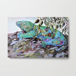 New Caledonia Lizard Art Deco Style Metal Print