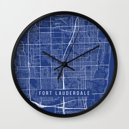 Fort Lauderdale Map, USA - Blue Wall Clock