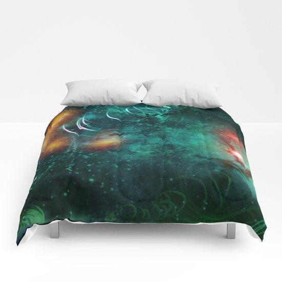 Turquoise Nebula Abstract Comforters