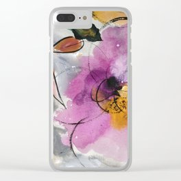 Softly Blushing Pink Abstract Floral Clear iPhone Case