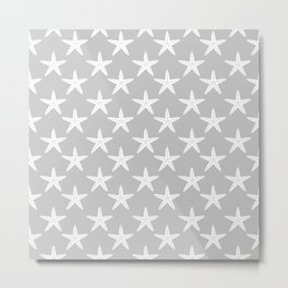 Starfishes (White & Gray Pattern) Metal Print