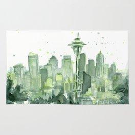 Seattle Watercolor Painting Rug
