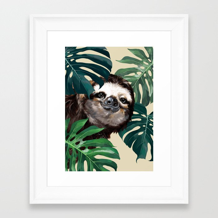 Sneaky Sloth with Monstera Framed Art Print