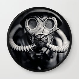 German Solider in a Gas Mask from World War II Wall Clock