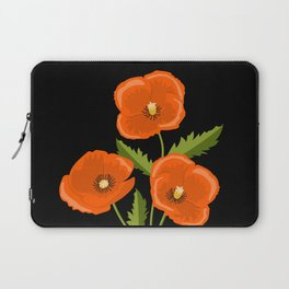 three red poppies on the black Laptop Sleeve