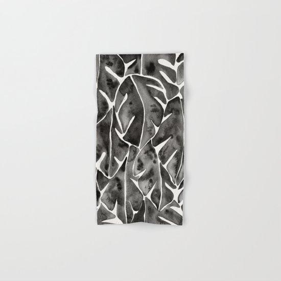 Split Leaf Philodendron - Black Hand & Bath Towel