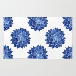 Indigo Succulent |  Watercolor Painting Rug