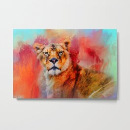 Colorful Expressions Lioness Metal Print