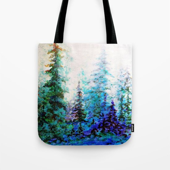 Mountain Landscape Pines In Blue-Greens-Purple Tote Bag