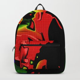 red Green Halftone Wallpaper Backpack