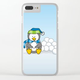Little penguin sitting with snowballs Clear iPhone Case