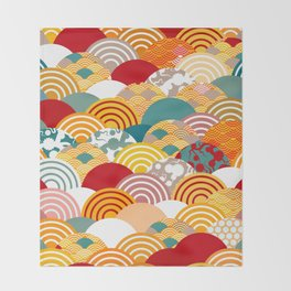 Nature background with japanese sakura flower, orange red pink Cherry, wave circle pattern Throw Blanket