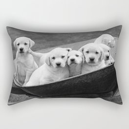 Labs Puppies In A Wheelbarrow Rectangular Pillow
