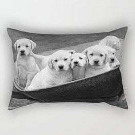 Labs Puppies In A Wheelbarrow Rectangular Pillow