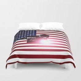 Welding: Welder & American Flag Duvet Cover