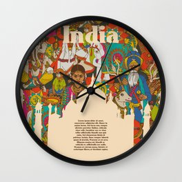India cultural symbols patterns poster Wall Clock
