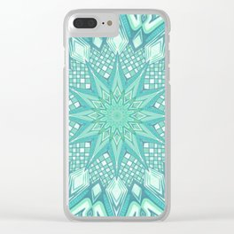 Burst Mandala Turquoise Clear iPhone Case