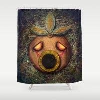 majoras mask Shower Curtains featuring Deku Mask by Stephano Herrera