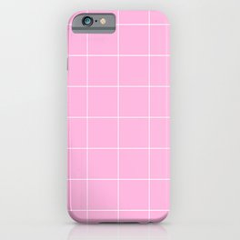 Graph Paper (White & Pink Pattern) iPhone Case