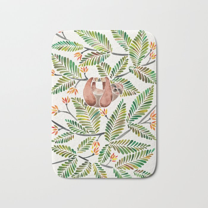Happy Sloth – Tropical Green Rainforest Bath Mat