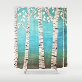 Turquoise Birch Forest Shower Curtain