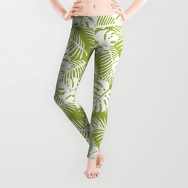 Olive Green Jungle Palm Leaves Pattern Leggings
