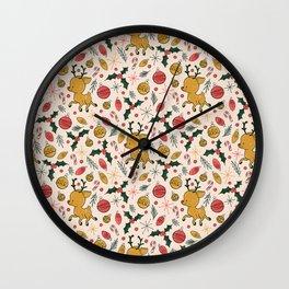 Midcentury Rudolph Christmas Pattern Wall Clock