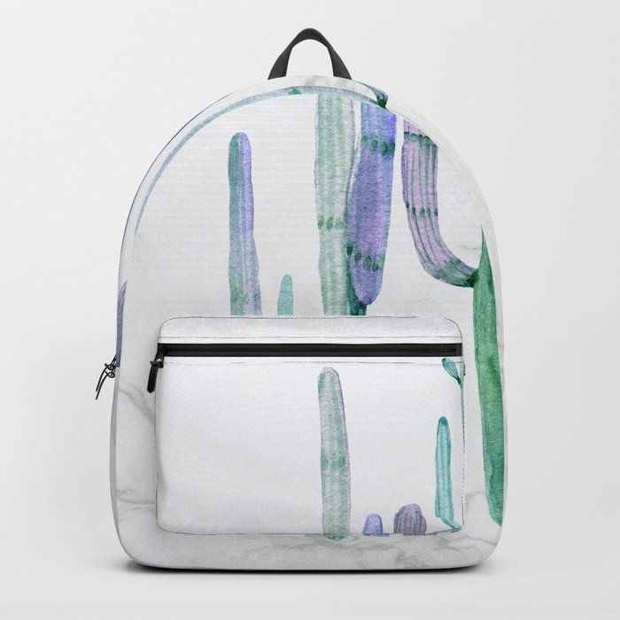 Cactus Trio Marble Sage Watercolor by Nature Magick Backpack