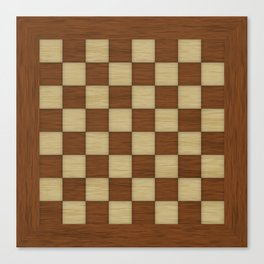 Wood Chess Board Canvas Print