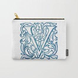 Letter V Elegant Vintage Floral Letterpress Monogram Carry-All Pouch