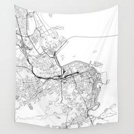 Rio De Janeiro White Map Wall Tapestry