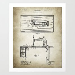 Sewing machine patent Drawing Art Print