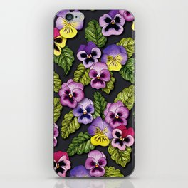Purple, Red & Yellow Pansies With Green Leaves - Floral/Botanical Pattern iPhone Skin