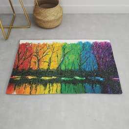 Rainbow Abstract Painting. Woods. Red Yellow Orange Green Blue Purple Rug