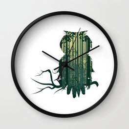Owl with forest landscape Wall Clock