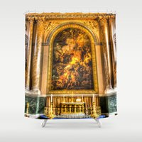 college Shower Curtains featuring Royal Naval College Greenwich  by David Pyatt