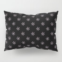 Pink Lace Pink on Black Snowflakes Pillow Sham